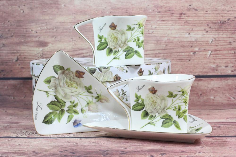2-dielna sada (ENGLAND COLLECTION) v darčekovej krabici - kvety biele