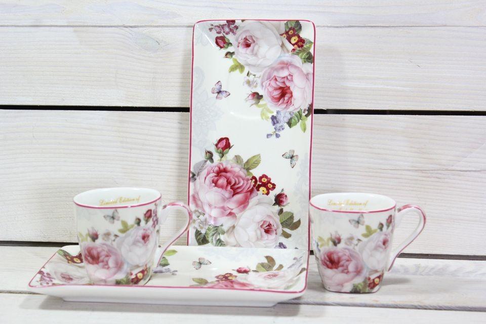 2-dielna sada QUEEN ISABELL s ružovými kvetmi v darčekovej krabici