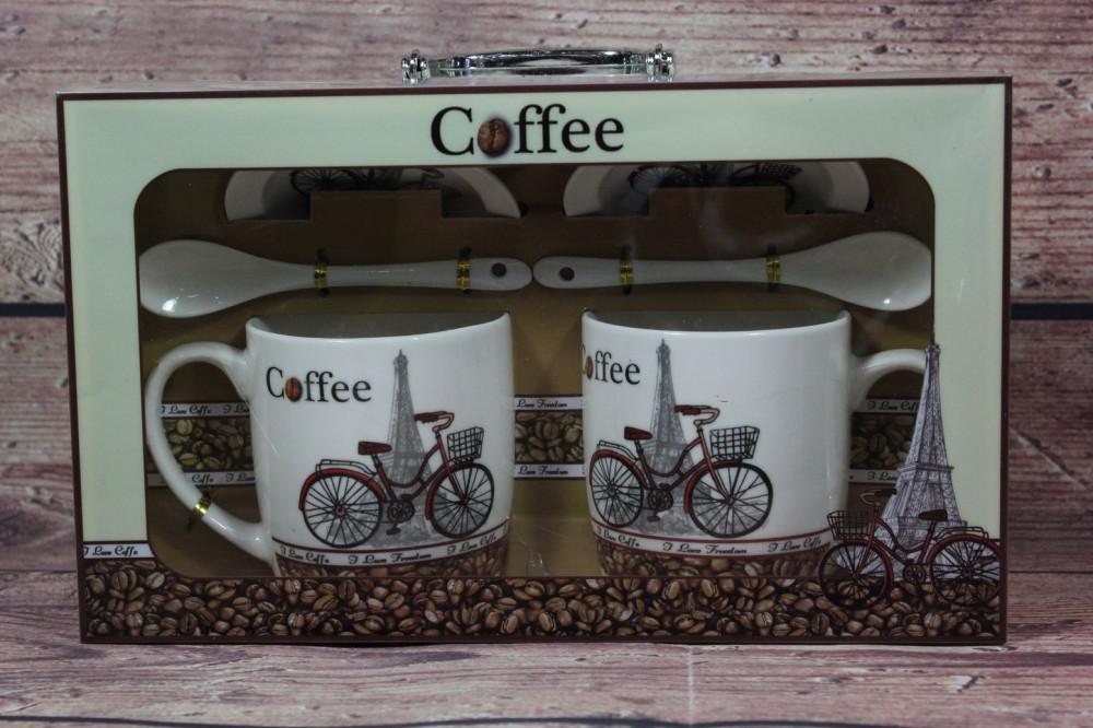 2 šálky s podšálkami a lyžičkami COFFEE v darčekovej krabici 2.