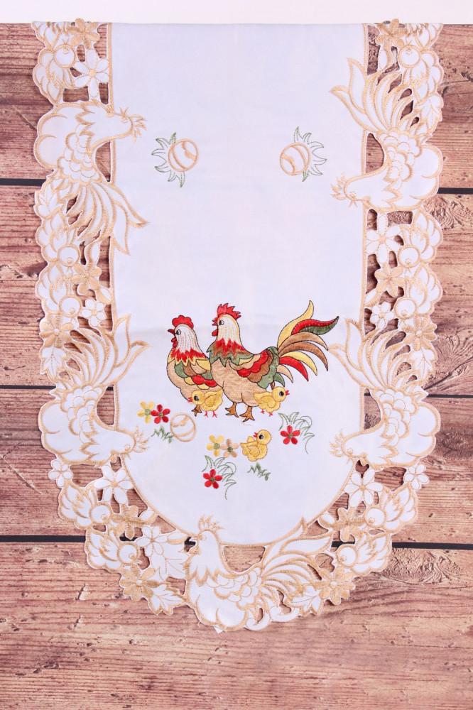 Veľkonočný obrus KOHÚT A SLIEPKA - hnedo-biely (40x90 cm)