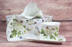 2-dielna sada (ENGLAND COLLECTION) v darčekovej krabici - kvety biele #1