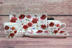 2-dielna sada (ENGLAND COLLECTION) v darčekovej krabici - kvety červené