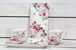 2-dielna sada QUEEN ISABELL s ružovými kvetmi v darčekovej krabici #1