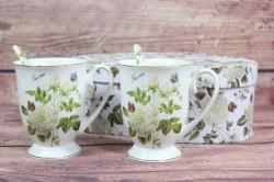 2 šálky (ENGLAND COLECTION) v darčekovej krabici - kvety biele