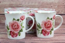 2 šálky (ENGLAND COLLECTION) v darčekovej krabici - kvety ružové