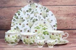 5-dielna sada (ENGLAND COLLECTION) v darčekovej krabici - kvety biele