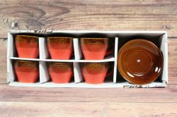 6-dielna sada COFFEE - hnedo-červená