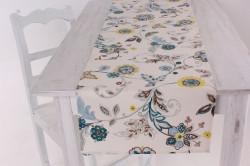 Štóla na stôl (40x175 cm) - krémovo-tyrkysová
