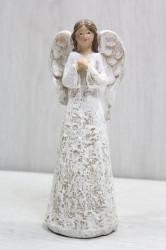 Anjelik v hnedo-bielych šatách (v. 16,5 cm)