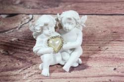 Anjelikovia so strieborným srdiečkom v ruke 2. (v. 6 cm)