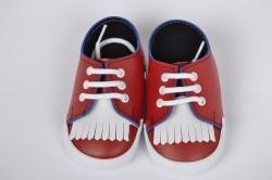 Baby topánky so strapcom - červené
