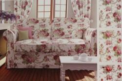 Bavlnená látka s RUŽAMI PANAMA (š. 180 cm) - smotanovo-bordová #1