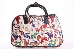 Cestovná taška (C3259) - topánky a kvety - krémová (41x26x22 cm)