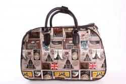 Cestovná taška s nálepkami (C3251) - tmavohnedá (45x29x24 cm)
