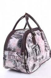 Cestovná taška s obrazmi - ružovo-hnedá (41x28x23 cm)