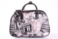 Cestovná taška s obrazmi - ružovo-hnedá (45x30x25 cm)