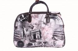 Cestovná taška s obrazmi - ružovo-hnedá (49x33x28 cm)