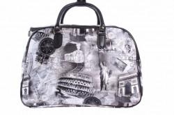 Cestovná taška s obrazmi - sivo-čierna (49x33x28 cm)