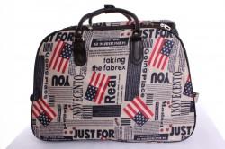 Cestovná taška veľká na kolieskach  s NÁPISMI (53x37x30 cm) - hnedo-biela