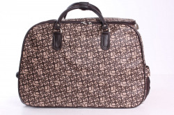 Cestovná vzorovaná taška na kolieskach - béžovo-hnedá (52x37x30 cm)