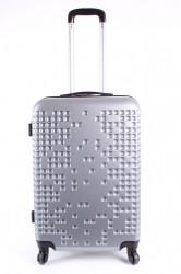 Cestovný kufor stredný LEONARDO DA VINCI - strieborno-sivý (60x43x25 cm + 5 cm kolieska)