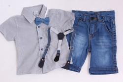 Chlapčenská riflová súprava s trakmi a s motýlikmi - modrá