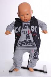 Chlapčenská súprava s vestou a kapucňou - tmavomodro-sivá