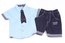 Chlapčenský komplet (modrá košeľa+krátke nohavice)
