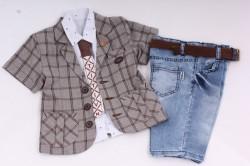 Chlapčenský letný trojkomplet s kravatou-hnedobiely