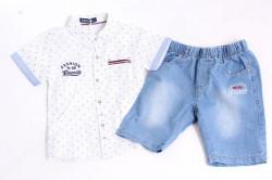 Chlapčenský rifľový komplet s bielou košeľou