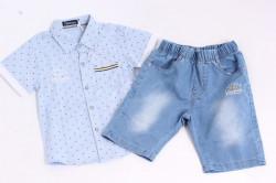 Chlapčenský rifľový komplet s modrou košeľou