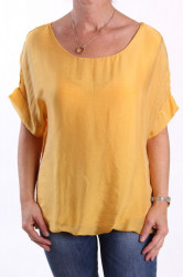 Dámska blúzka s krátkym rukávom - žltá