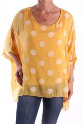 Dámska blúzka s veľkými bodkami - žltá