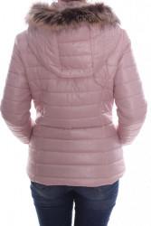 Dámska bunda prešívaná s kapucňou - bledoružová #1