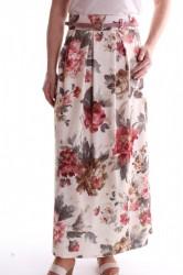 Dámska elastická sukňa vzorovaná dlhá - staroružovo-maslová