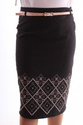 Dámska elastická sukňa vzorovaná s opaskom - broskyňovo-čierna D3