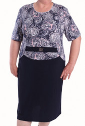 Dámska elastické šaty s ozdobou - tmavomodré