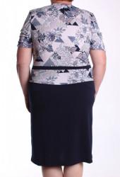 Dámska elastické šaty zdobené mašľou - tmavomodré #1
