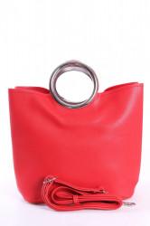 Dámska kabela so striebornou rúčkou - červená (27x26x14 cm) #1