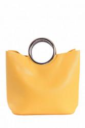 Dámska kabela so striebornou rúčkou - žltá (27x26x14 cm)