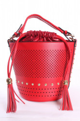 Dámska kabela zdobená nitmi - červená (30x24x20 cm)