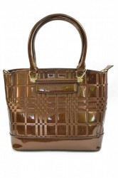 Dámska kabelka lakovaná - hnedá (36x28 cm)
