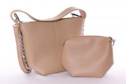 Dámska kabelka + malá kabelka (5012) - béžová (26x22x11 cm), (17x15x10 cm)