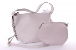 Dámska kabelka + malá kabelka (5012) - bledosivá (26x22x11 cm), (17x15x10 cm)