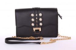 Dámska kabelka ozdobená korálkami (YF189) - čierna (23x16x8 cm)