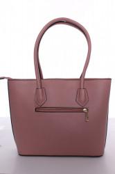 Dámska kabelka s čiernym lemovaním (A302-2) - ružová (30x26x10 cm) #1