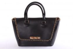 Dámska kabelka so zlatými ozdobami (26x23x14 cm) - čierna