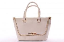 Dámska kabelka so zlatými ozdobami (26x23x14 cm) - vanilková