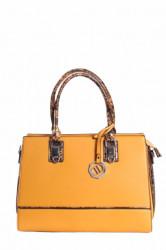 Dámska kabelka zdobená hadím vzorom - žltá (34x25x13 cm)