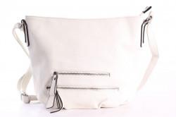 Dámska kabelka zdobená zipsami (H891-338) - krémová (37x27x11 cm)